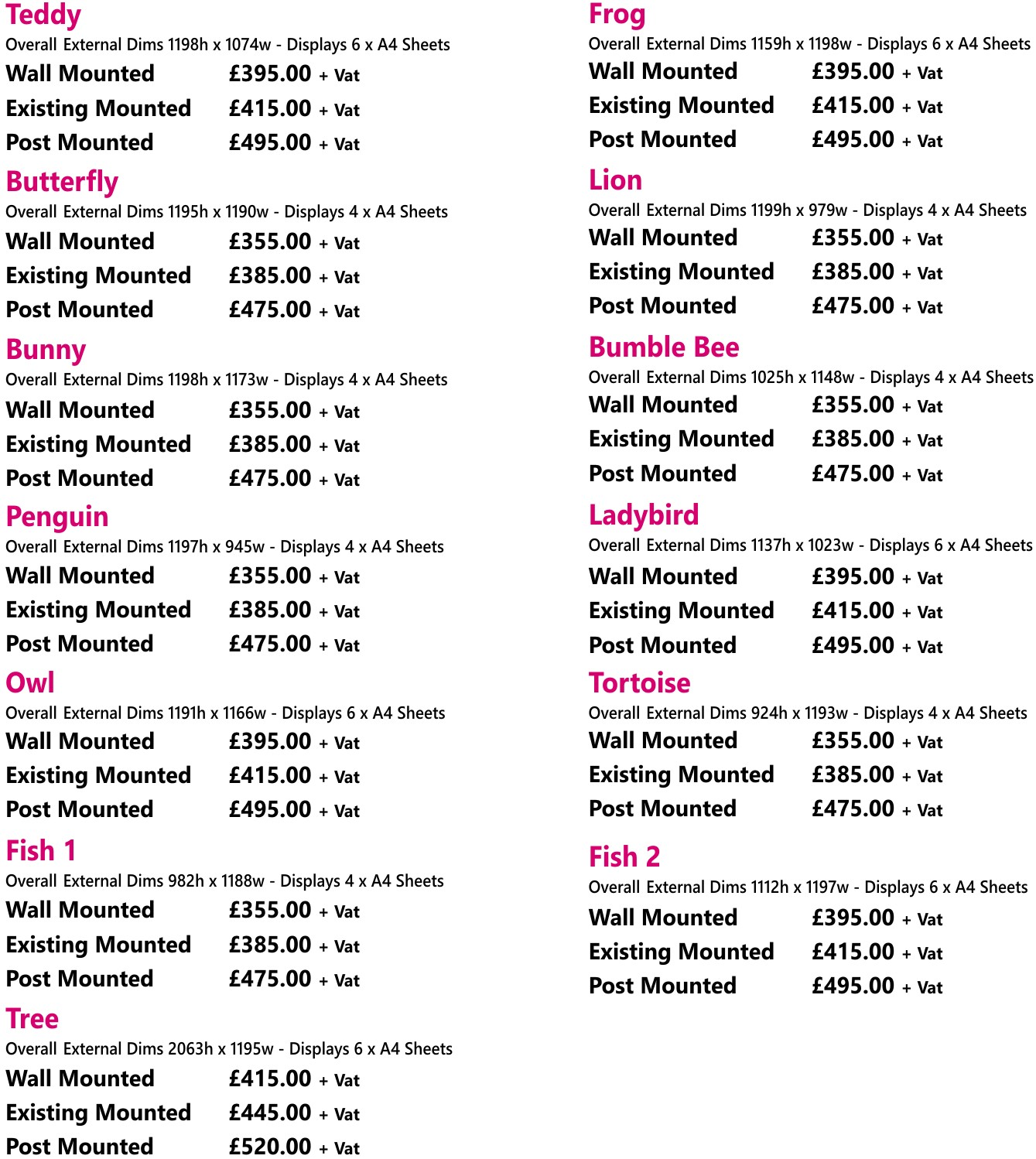 Squiggle School Notice Boards Price List