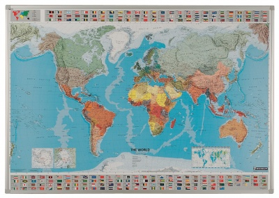 World Framed Magnetic Drywipe Map Signs Schools - Large framed magnetic world map