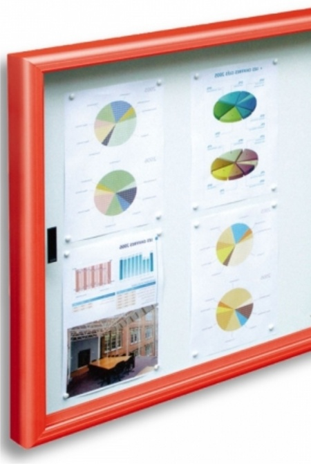 The Classic Sliding Door Notice Board - Coloured Frame - Signs 4 Schools