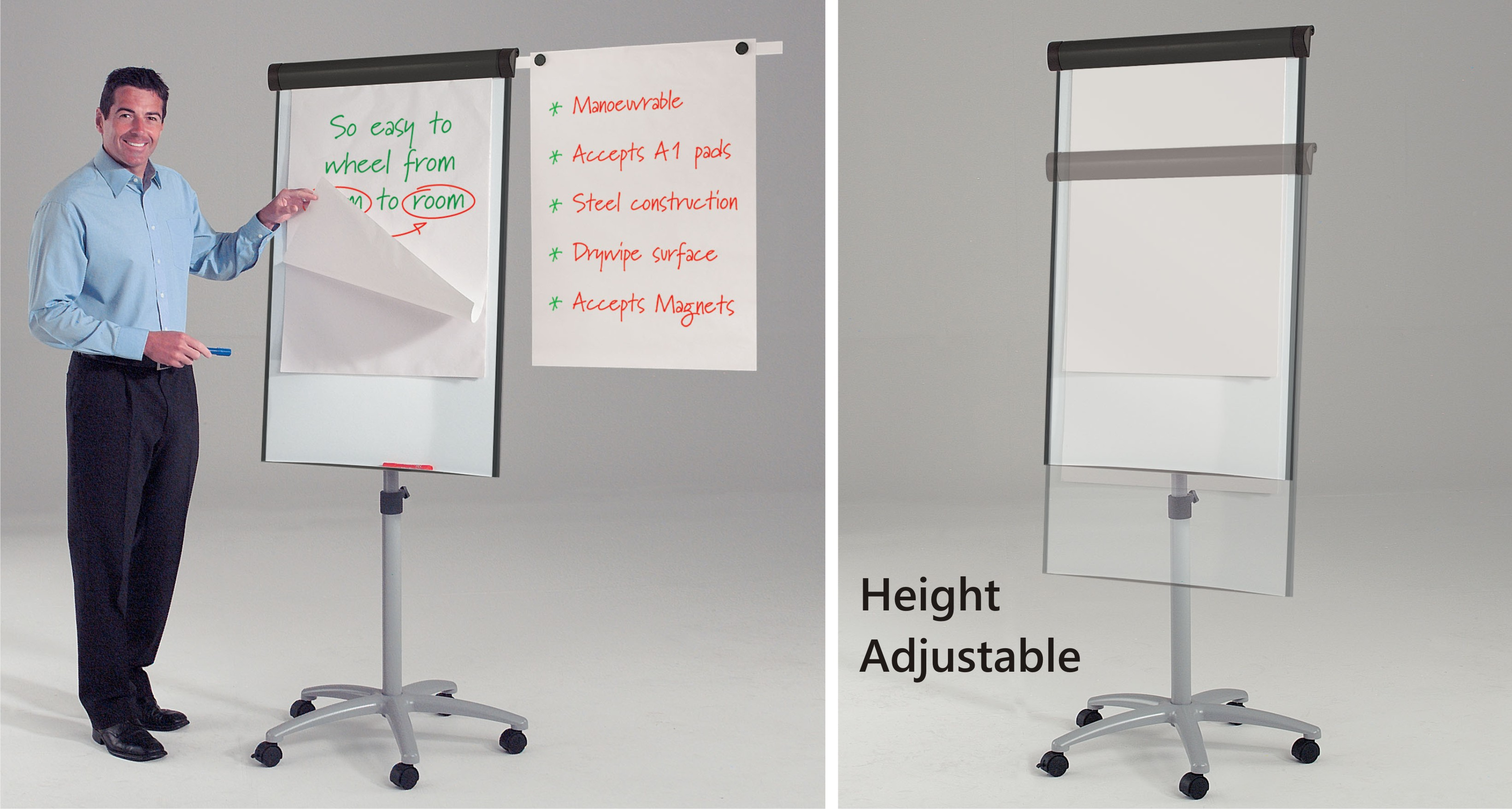 Buzzard Mobile Magnetic Flipchart Easel