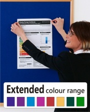 Hardwood Framed Felt Noticeboard - Extended Colour Range