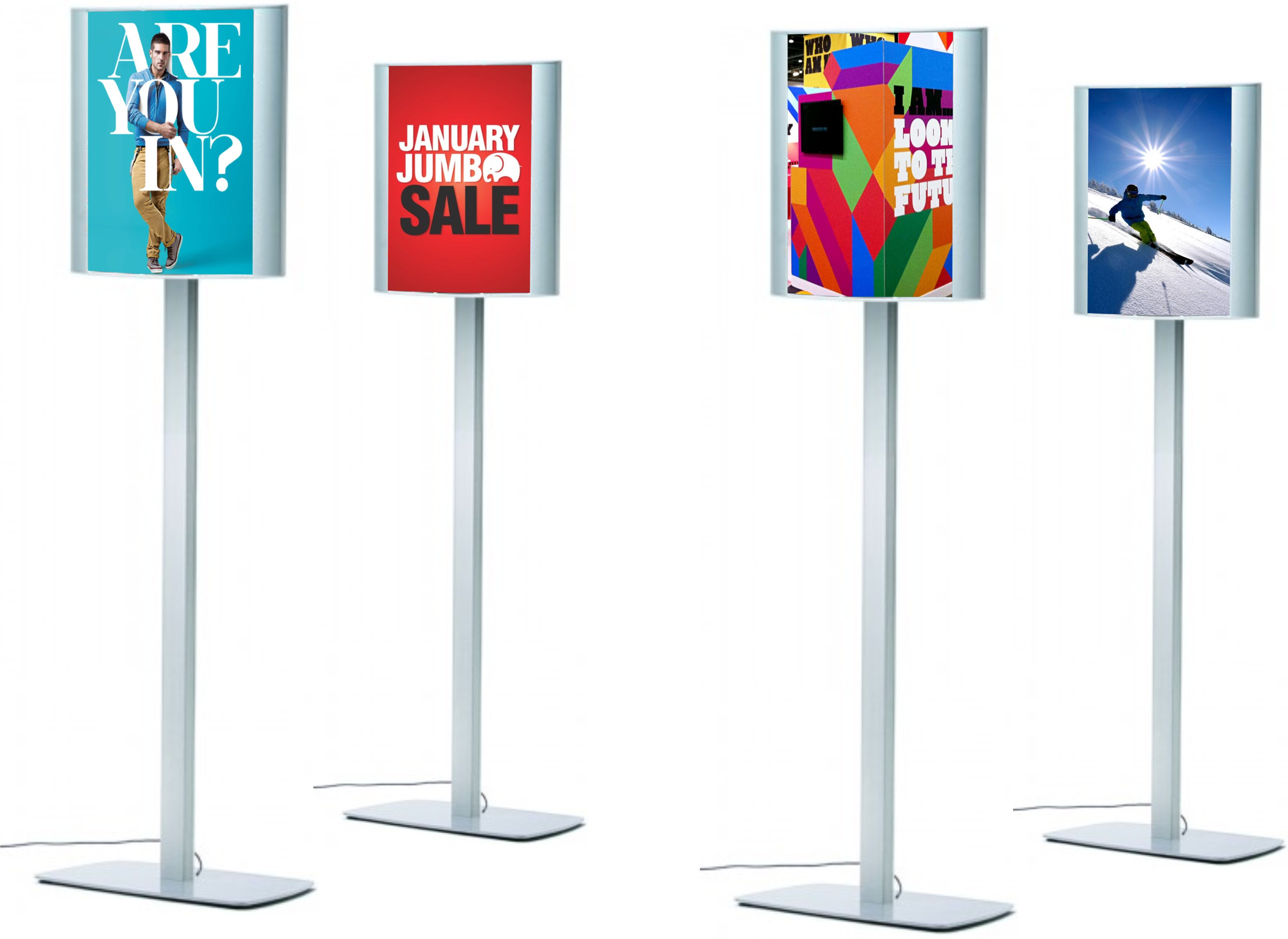 A3 Curved Double Sided LED Illuminated Freestanding Sign Post