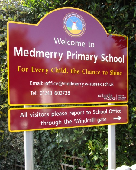 Aluminium Post Mounted School Sign at Medmerry Primary School