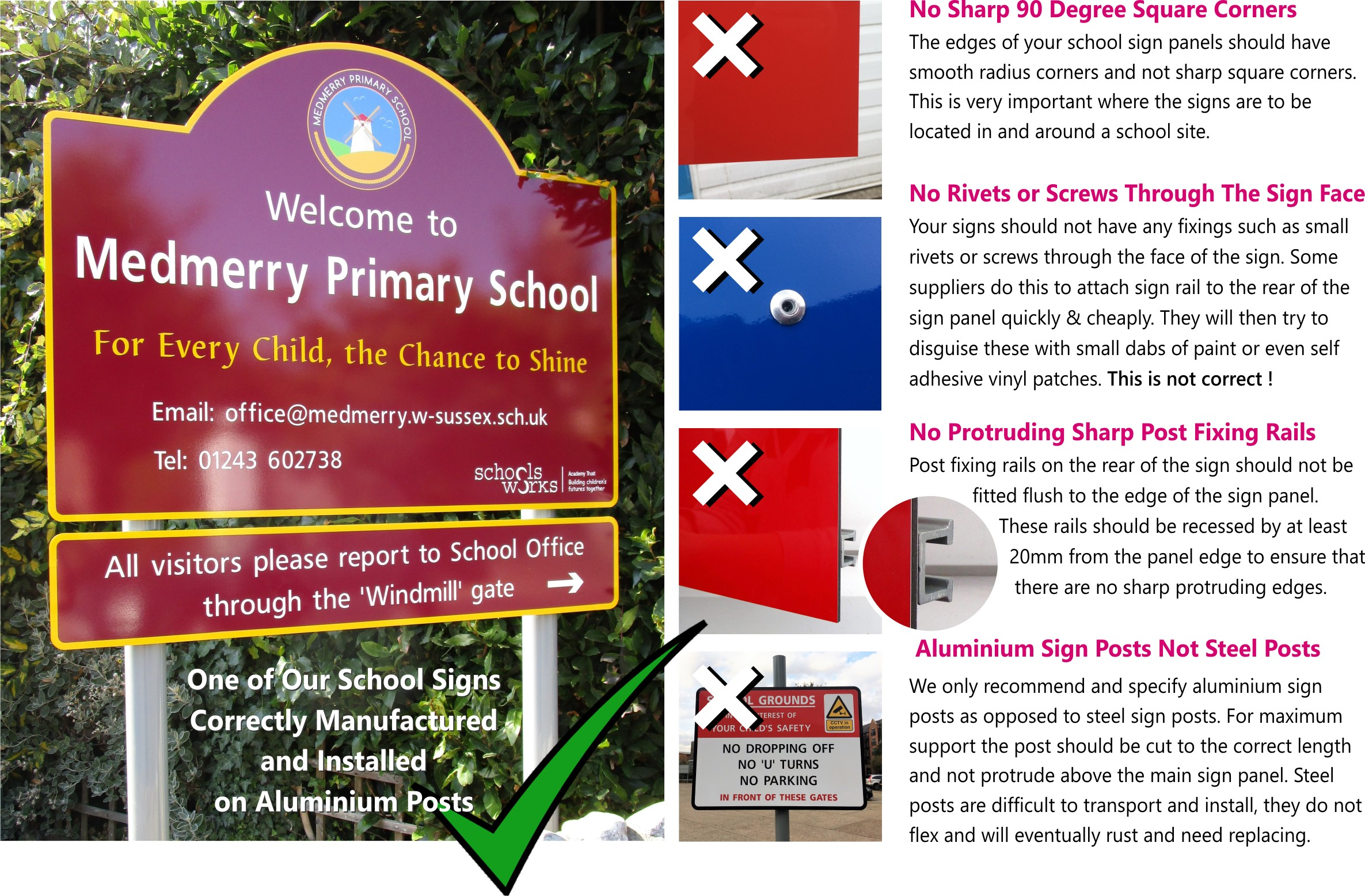 signs for schools Medmery Primary School Sign on Aluminium Posts