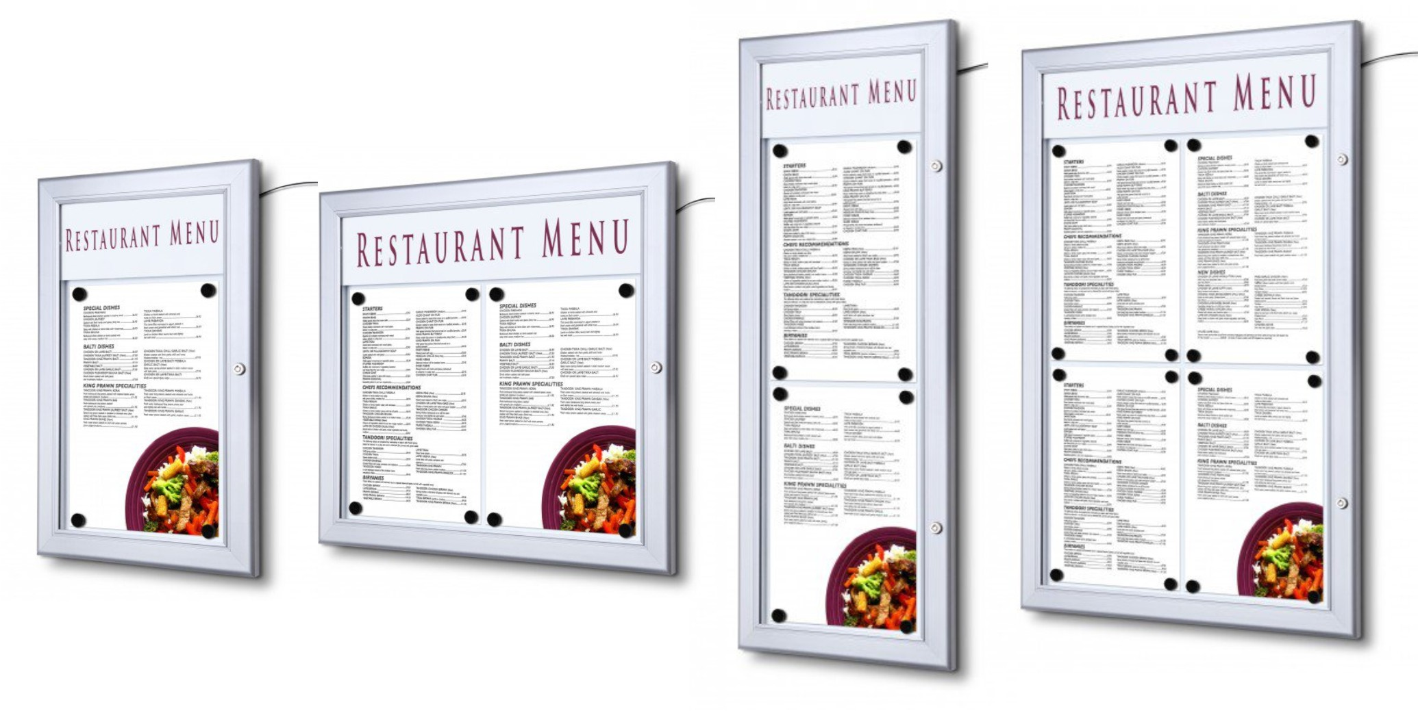 Lockable LED Wall Mounted Menu Cases