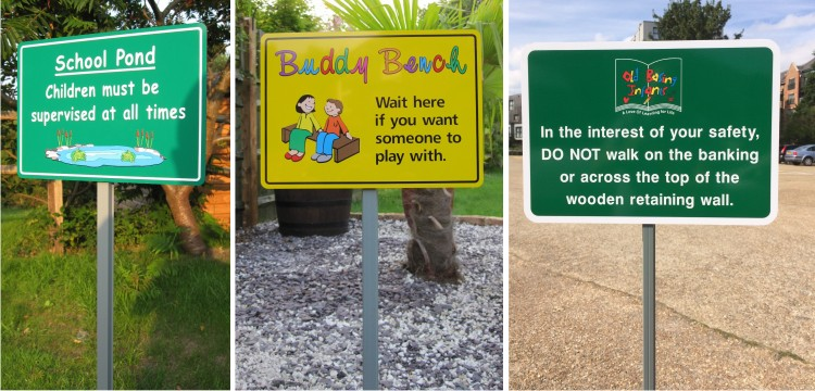 grass stake school signs