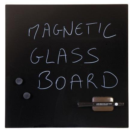 Glass Magnetic Memo Tile - Black