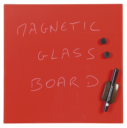 Magnetic Glass Memo Tile - Red