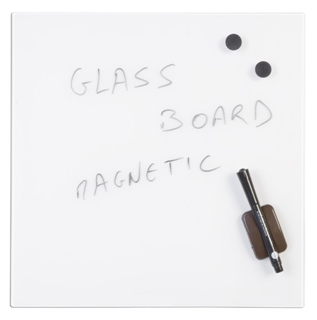 Magnetic Glass Memo Tile - White