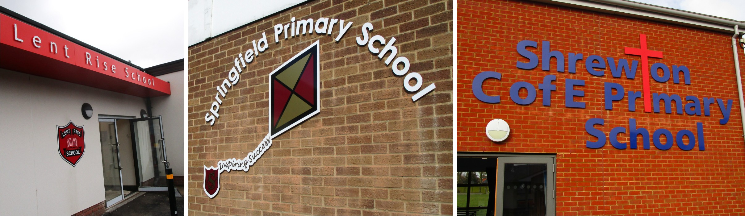 Individual cut out lettering and logos for schools