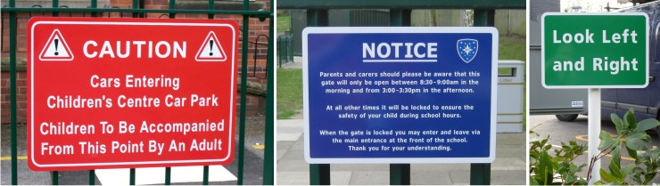rail mounted general school notice signs