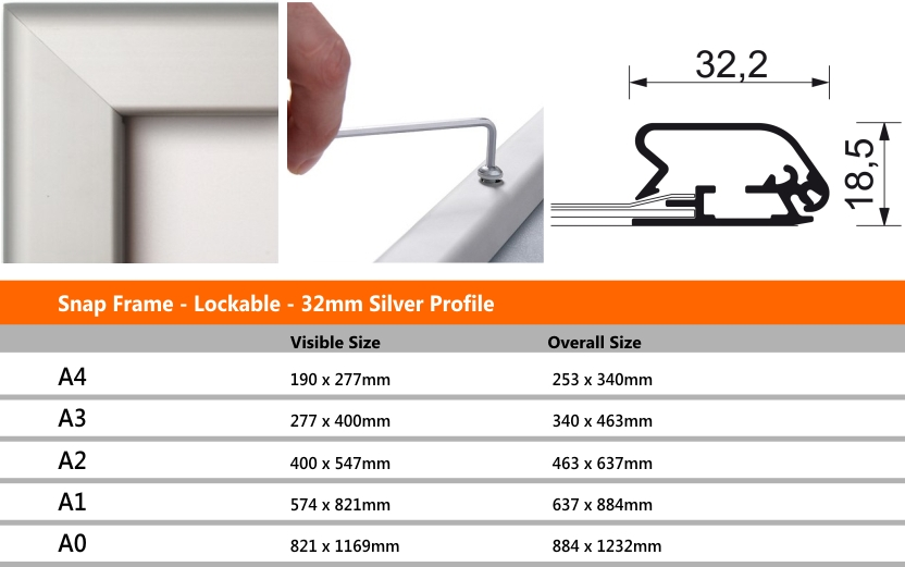 Snap Frame Lockable 32mm Silver Profile