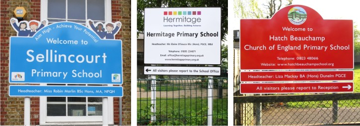 External Post Mounted Aluminium School Signs for Sellincourt Primary School, Hermitage Primary School and Hatch Beauchamp CofE Primary School