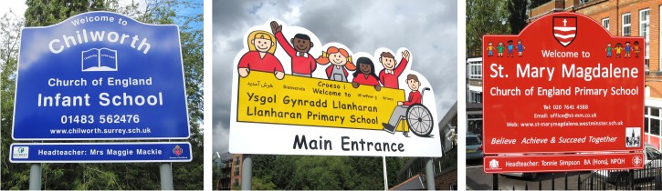 aluminium post mounted wexternal welcome school signs