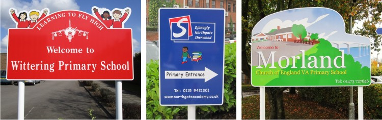 Aluminium Post Mounted School Signs for Primary Schools