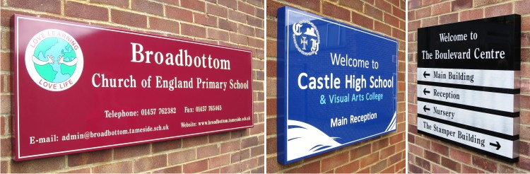 wall mounted box tray school signs