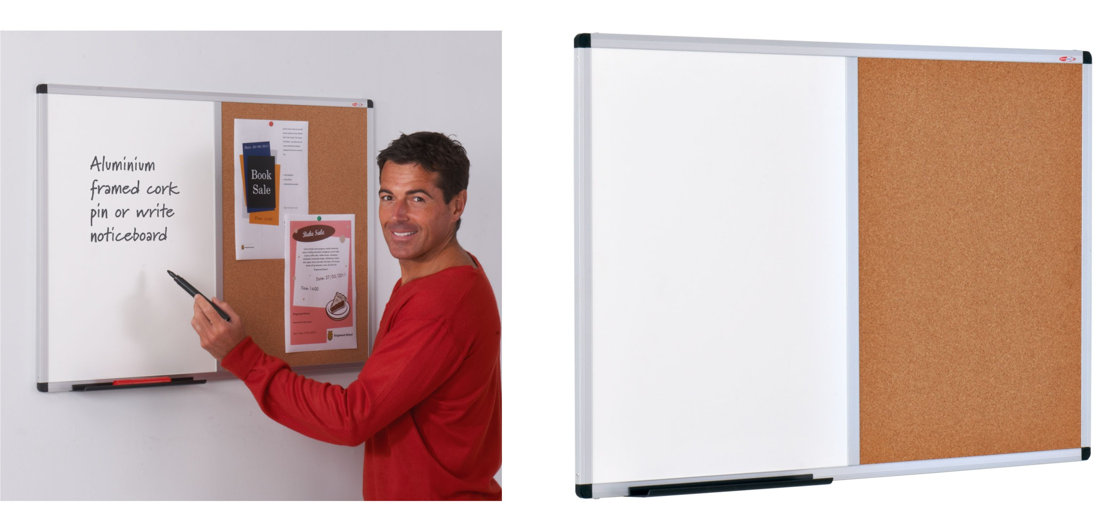 The Metro Aluminium Framed Felt / Cork Combination Noticeboard