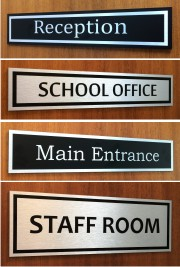Brushed Aluminium School Door Signs