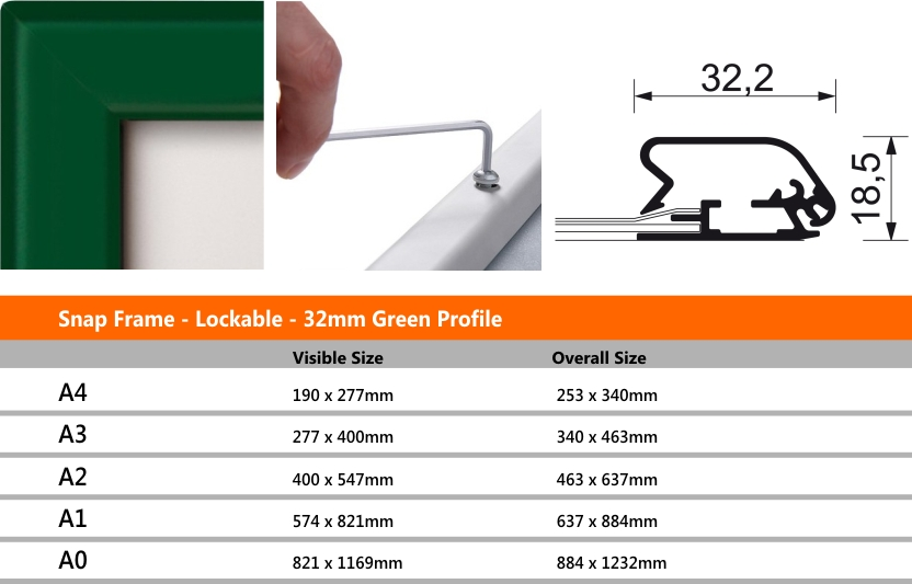 Snap Frame Lockable 32mm Green Profile