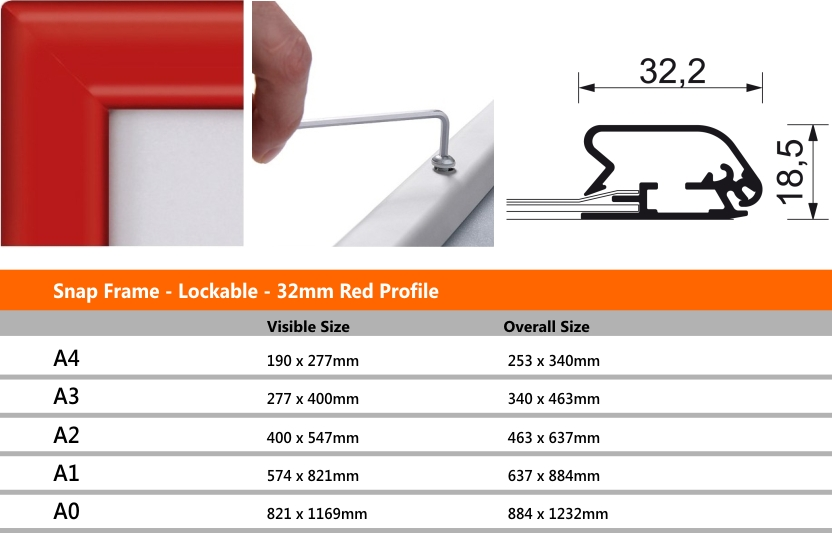 Snap Frame Lockable 32mm Red Profile