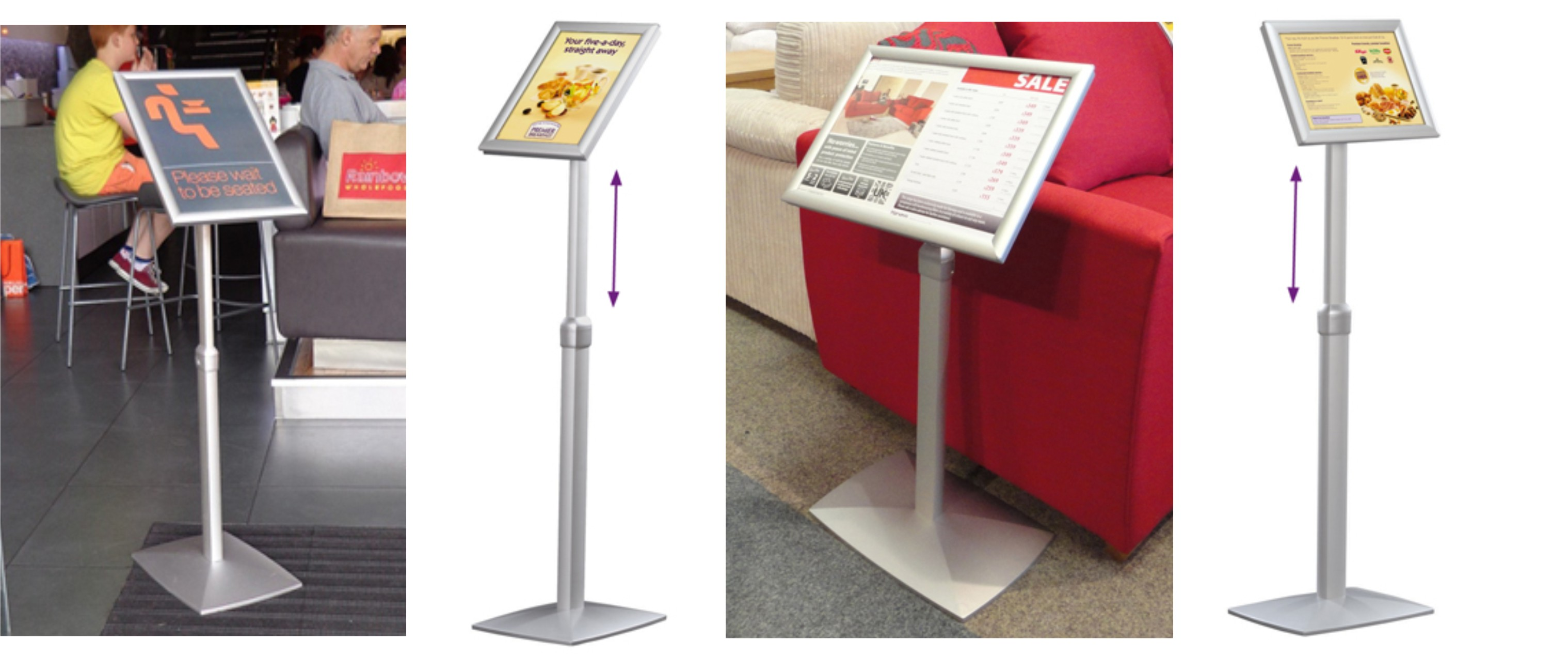A2 Freestanding Snap Frame Angled Menu Holder