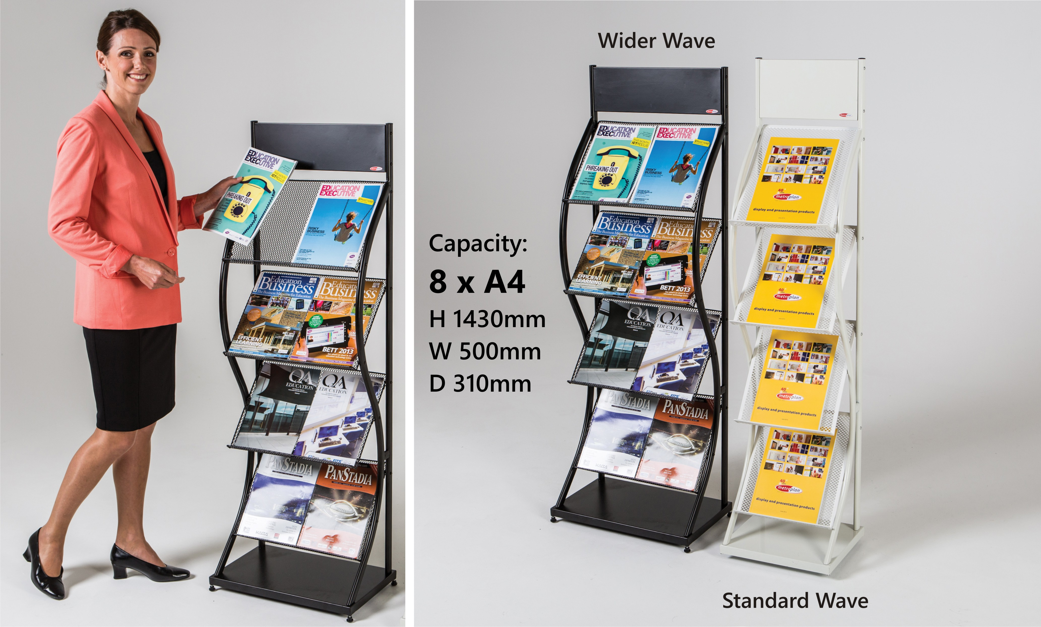 Wider Wave Freestanding Literature Dispenser