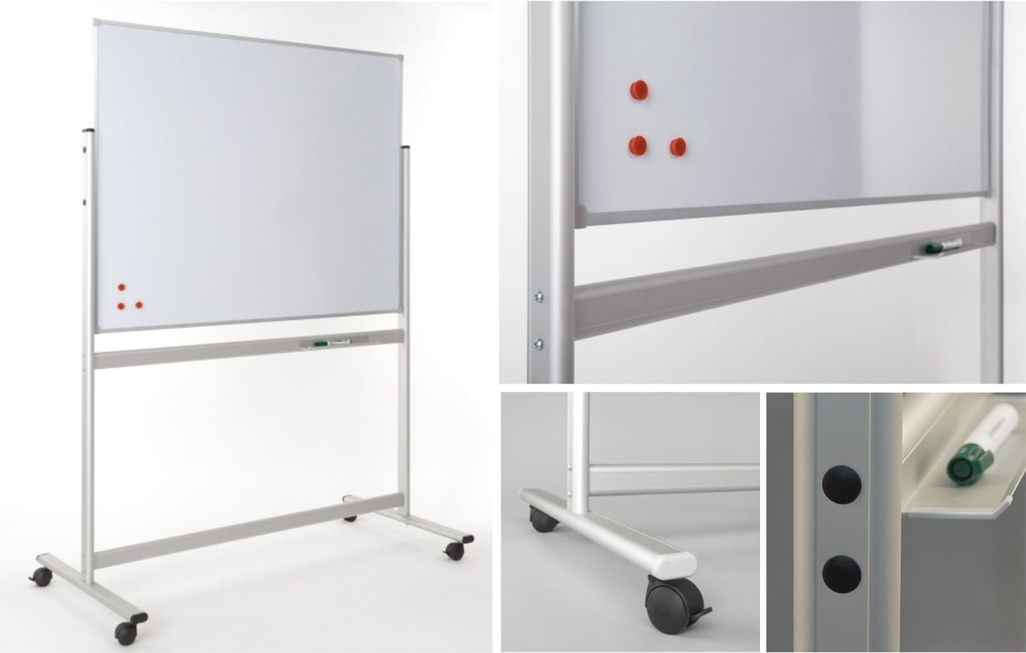 Vertical Fixed Panel Mobile Drywipe Whiteboard