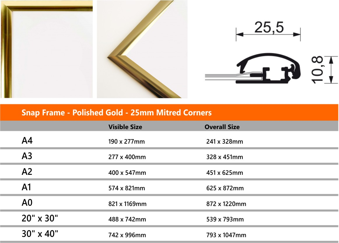 229d1016ce72 Snap Frame - Polished Gold - 25mm Profile - Signs 4 Schools