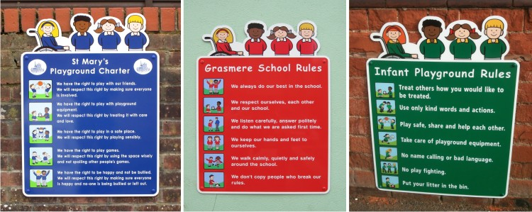 Character Play Area Rules Signs