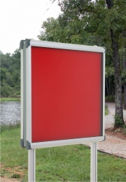 Vision Satin Silver Post Mounted Notice Board