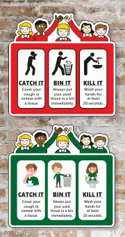 Child Friendly Character Hygiene Signs