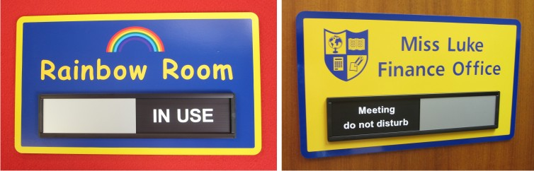 Sliding door signs for schools