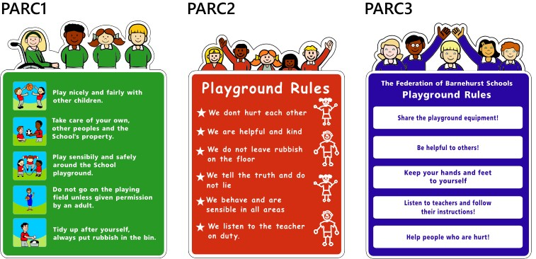 wall mounted play area rules signs