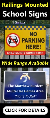 School Signs for Existing Posts, Metal Gates and Railings