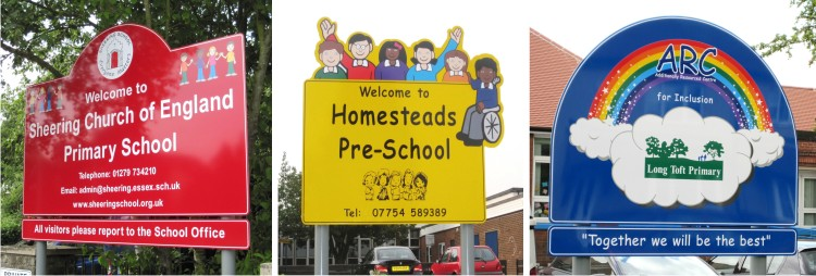 school welcome signs for Sheering Cof E Primary School, Homesteads Pre-School and Long Toft Primary School